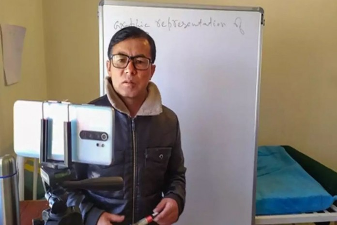 corona positve teacher give online classes in leh